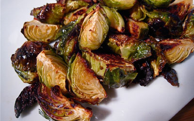 Roasted Brussel Sprouts with Bacon and Garlic